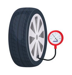 Wheel and manometer single icon in cartoon style vector