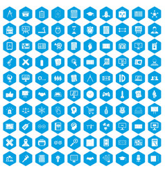 100 plan icons set blue vector