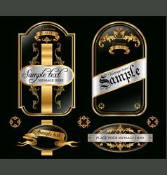 Gold framed black labels vector image