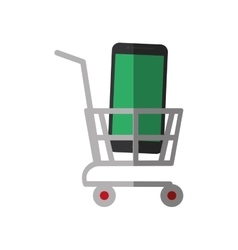 Shopping cart online mobile phone display color vector