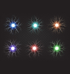 Fireballs colourful set on transparent background vector