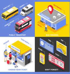 Bus terminal isometric design concept vector