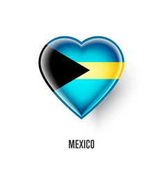 Patriotic heart symbol with bahamas flag vector