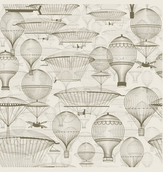 Vintage hot air balloons floating in the sky vector