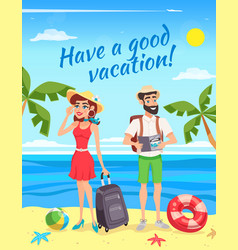 Tourists during summer holiday vector