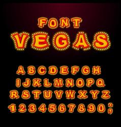 Vegas font glowing lamp letters retro alphabet vector