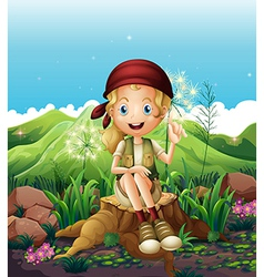 A cute female explorer sitting above the stump vector image