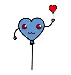 heart shaped party balloons kawaii character vector image