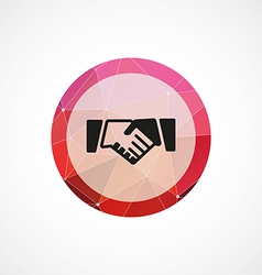 Handshake circle pink triangle background icon vector image