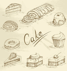 Hand drawn cake sketch vector