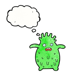 Cartoon funny slime monster with thought bubble vector