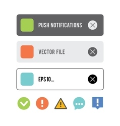 Push notifications elements icons set vector