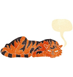 cartoon resting tiger with speech bubble vector image