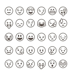 Set of outline emoticons emoji isolated vector