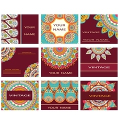 Set invitations business cards decorative flowers vector image
