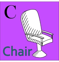 C letter alphabet coloring book chair vector