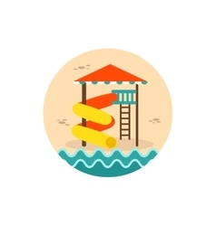 Water park summer vacation slide beach icon vector