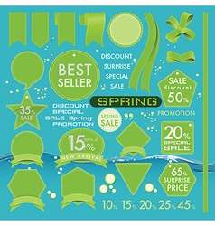 Element green olives leather labels on spring set vector