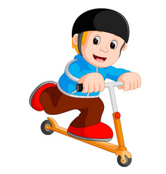 a boy playing push bicycle vector image vector image