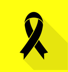black awareness ribbon sign black icon with flat vector image vector image
