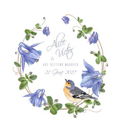 blue flower bird wreath vector image vector image