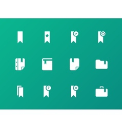 Bookmark tag favorite icons on green background vector