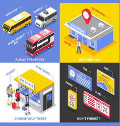 Bus terminal isometric design concept vector