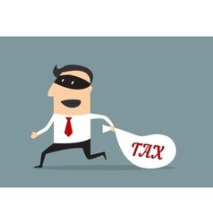 Businessman stealing tax money vector image