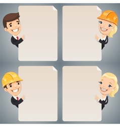 Businessmen Cartoon Characters Looking at Blank vector image vector image