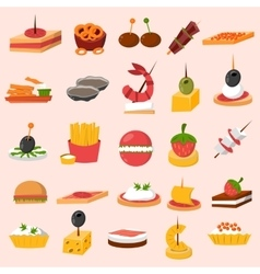 Canape snacks appetizer set vector