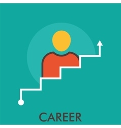 Career stairway business flat human line icon vector