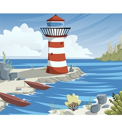 cartoon sea landscape with lighthouse and boats vector image