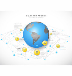 Company profile overview template with yellow vector