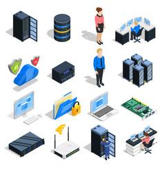 Datacenter elements icon set vector