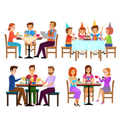 Eating adults and kids set sitting in restaurant vector