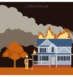 Fireman and a fire in the house vector