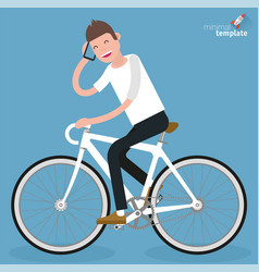 flat design young women riding bicycle vector image vector image