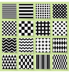 Geometrical black and white seamless patterns set vector image vector image