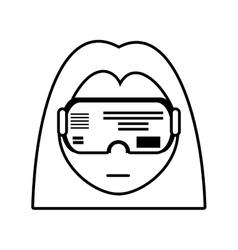 Girl vr googles innovation technology outline vector