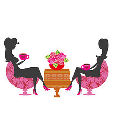 Girls in coffee break - silhouette vector