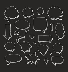 Hand drawn set of speech bubbles and arrows white vector
