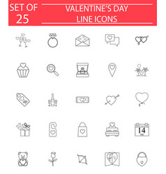 happy valentines day line icon set vector image