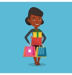 Happy woman holding shopping bags and gift boxes vector image