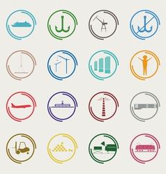 Industrial and logistic color icons vector image