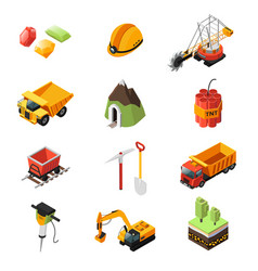 isometric mining industry elements set vector image vector image