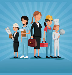 Labor day group women workers profession various vector