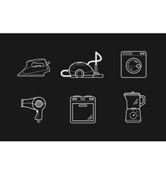 Line icons of home appliances household cooking vector image
