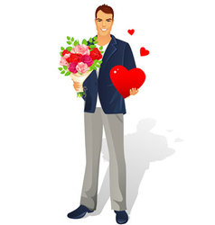 man with bouquet heart vector image vector image