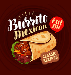 Mexican food banner burrito kebab meal eating vector