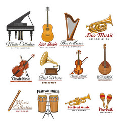 musical instrument symbol set for music design vector image vector image